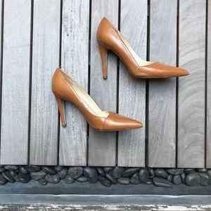SAKS FIFTH AVENUE Tan Leather Almond Toe Heels